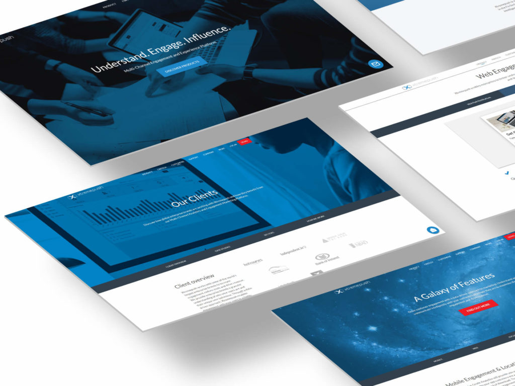 An image showing multiple screens from the corporate website of  the Irish company Xtremepush.