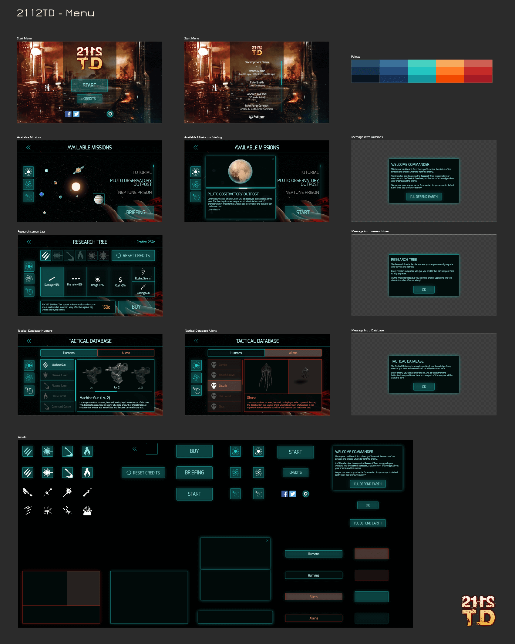 Image of the game 2112TD menu elements