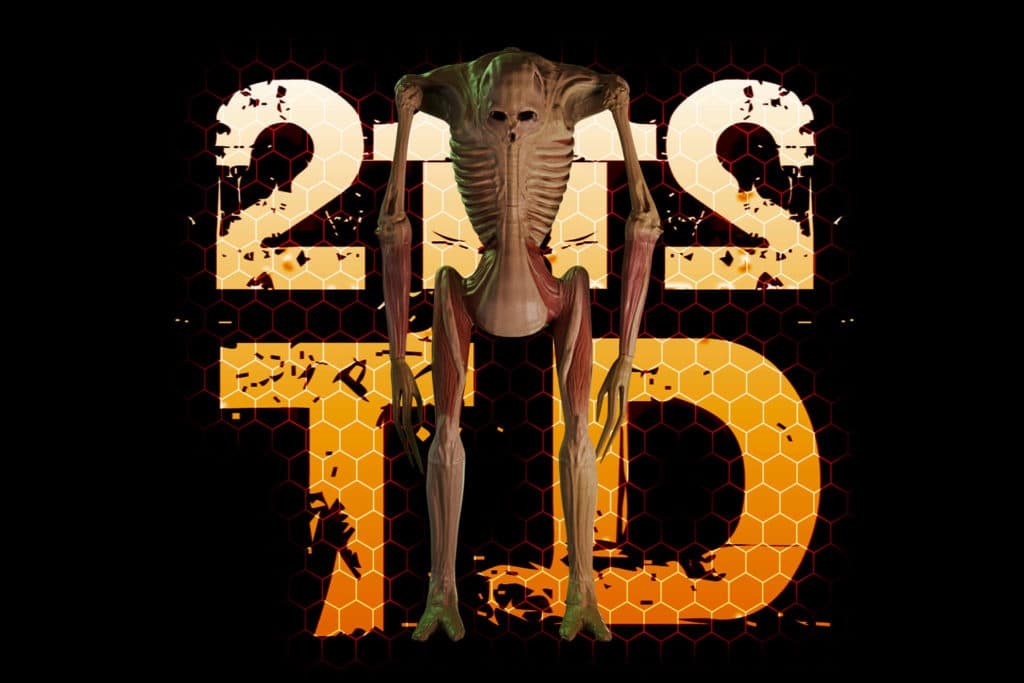 A promotional image of the video game 2112TD. In the image, one of the monsters stands in front of the game logo.
