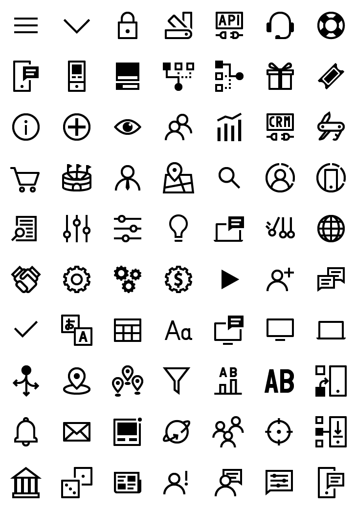 Image of the icons set made for Xtremepush